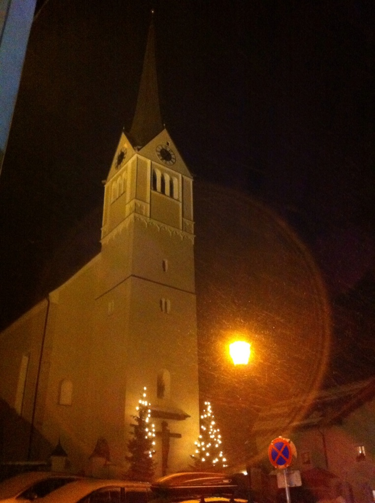Exterior of the church at night